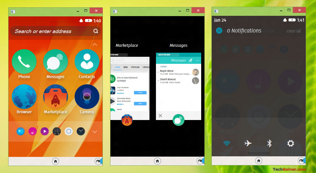 Firefox OS home screen, app switcher and App menu