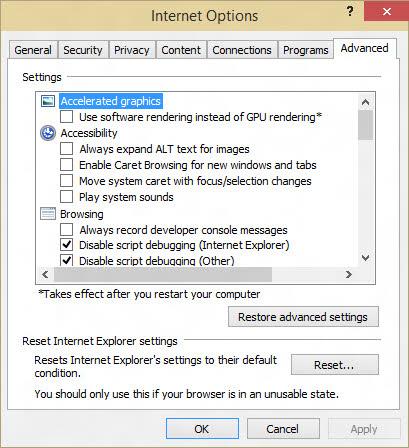 Change Advanced Settings in Internet Explorer