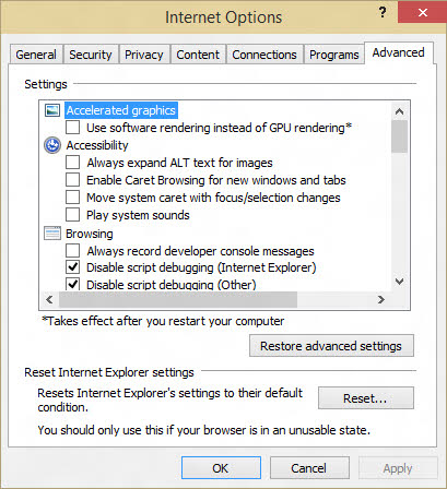 Change Advanced Settings in Internet Explorer
