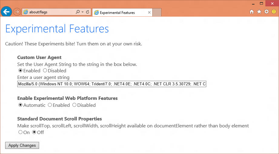 about:flags to bring Internet Explorer experimental settings