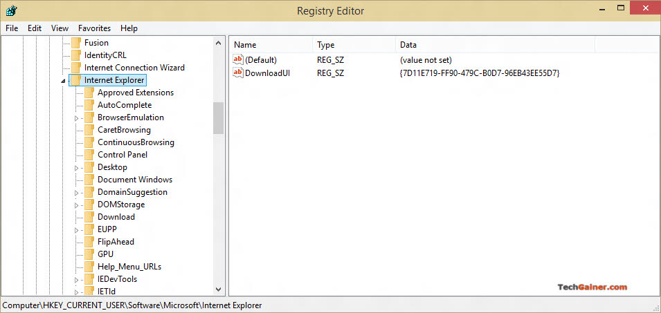 Internet Explorer settings in registry
