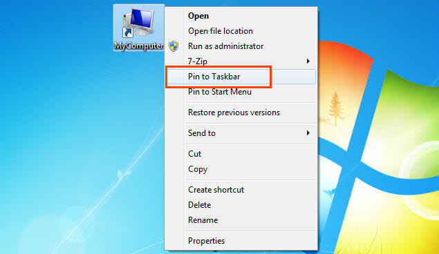 Pin any shortcut to Taskbar