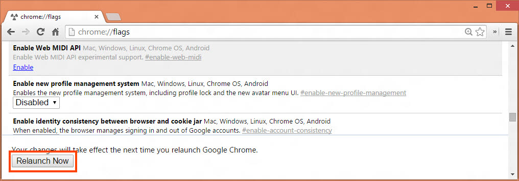 Chrome Flags Relaunch Now button