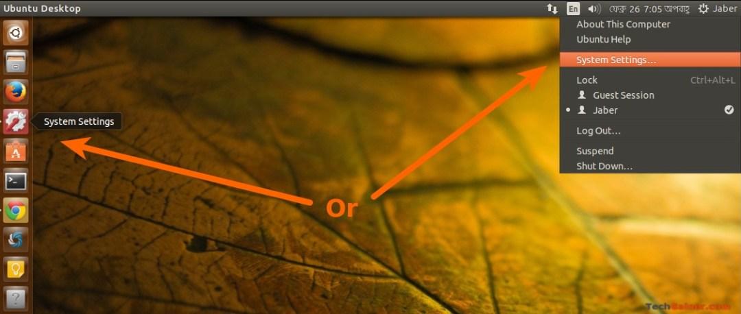 Access Ubuntu System Settings