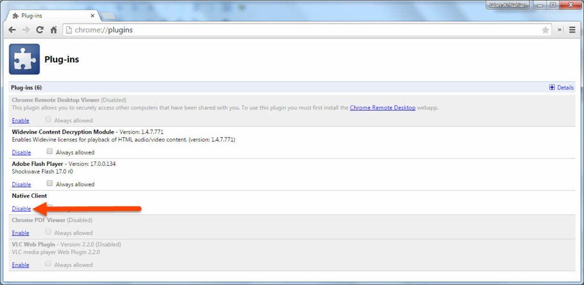 Disable Chrome Plugins