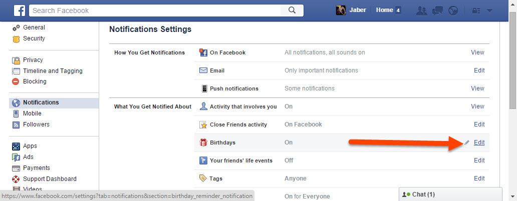 Edit birthday notification settings