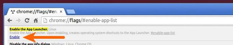 Turn on Chrome App Launcher in Linux