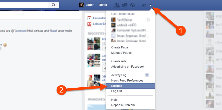 Open Facebook settings