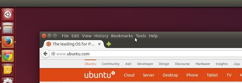 Local Menu bar items in Firefox in Ubuntu