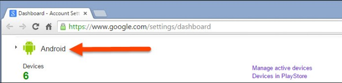 Google Dashboard Android settings