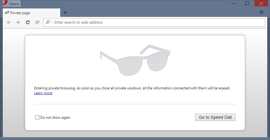 Always launch Opera in private mode in Windows