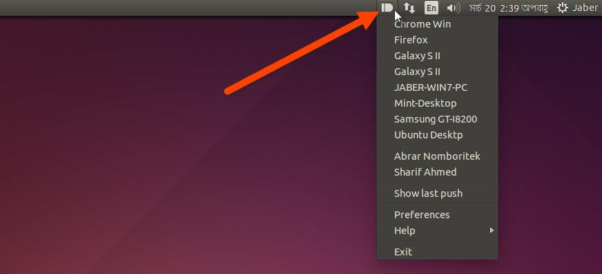 Pushbullet indicator at Ubuntu Panel