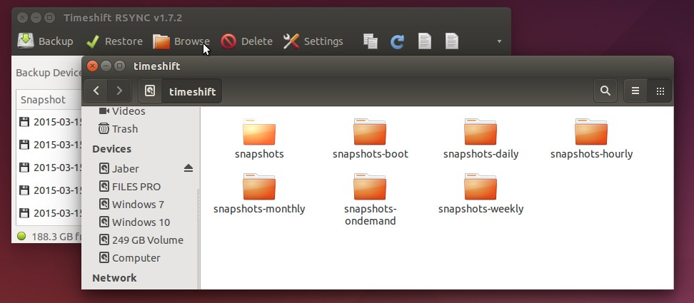 Timeshift snapshot folders