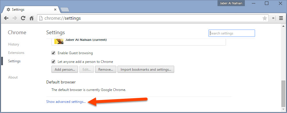 Open Chrome advanced settings