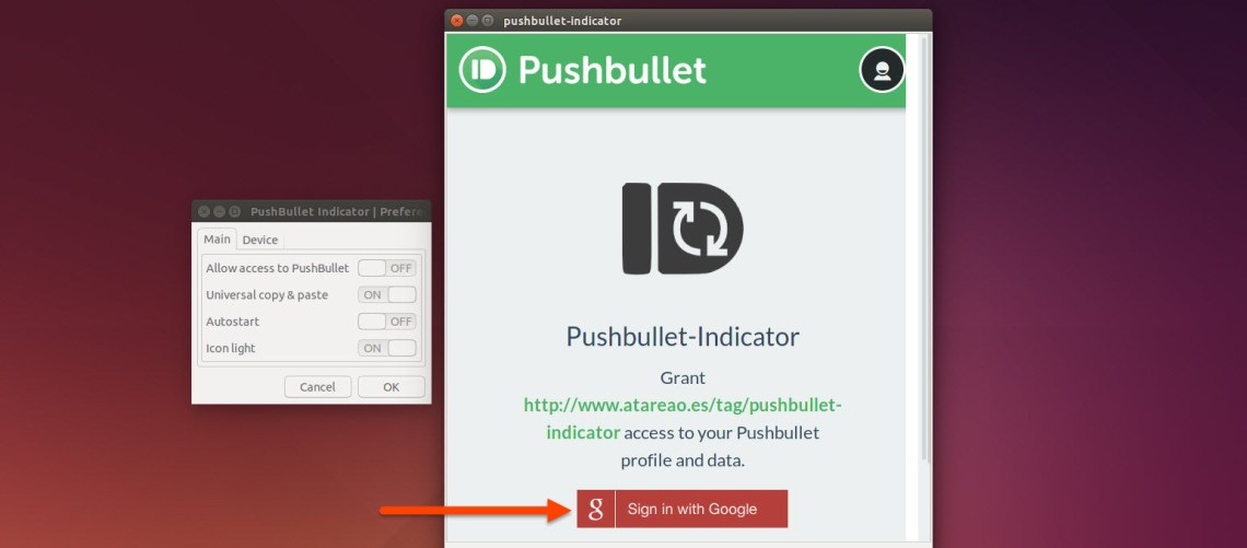 Sign in and approve Pushbullet