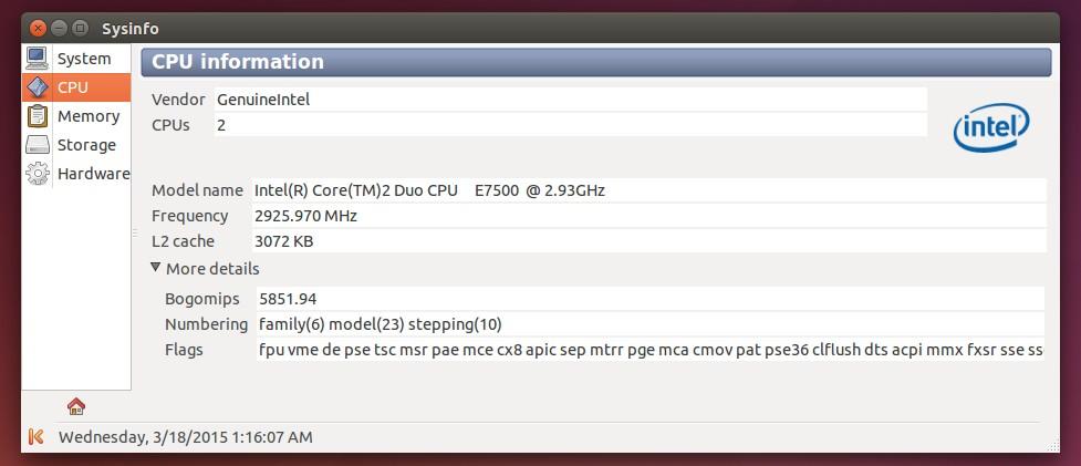 Sysinfo running on Ubuntu