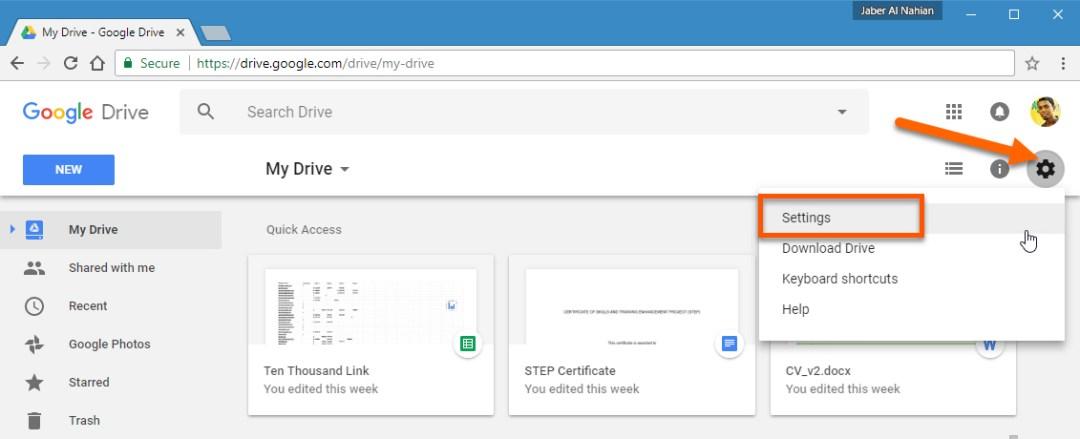 Access Google Drive web settings