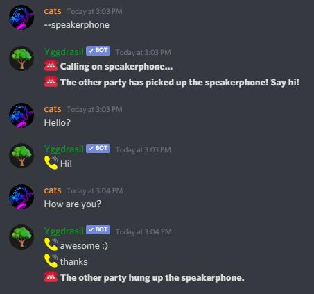 Llamada entre servidores de bot de Yggdrasil