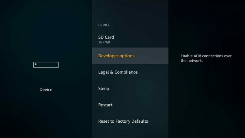 developer options on firestick to install freeflix TV apk