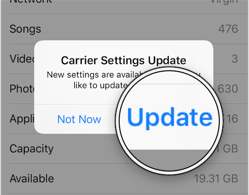 how to update carrier settings