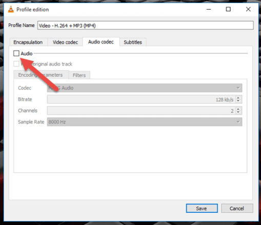 remove audio from video VLC media player2