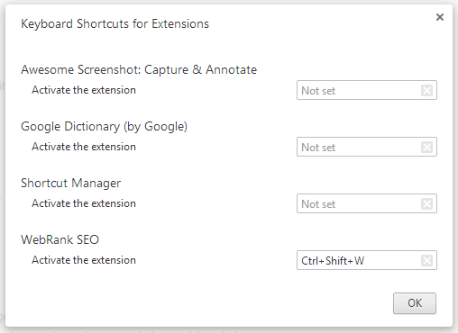 Type Shortcut Key Extension
