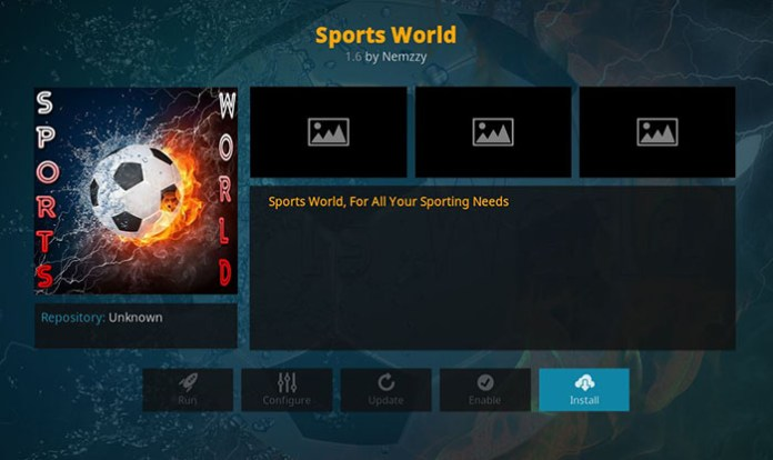 Live Sports Addons for Kodi - Sports World 1