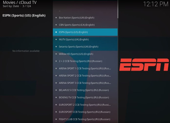 Live Sports Addons for Kodi - cCloud TV 2