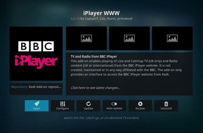Live Sports Addons for Kodi - iPlayer WWW 1