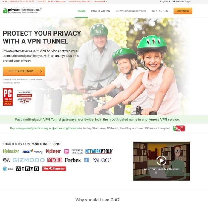 Private Internet Access Web Page