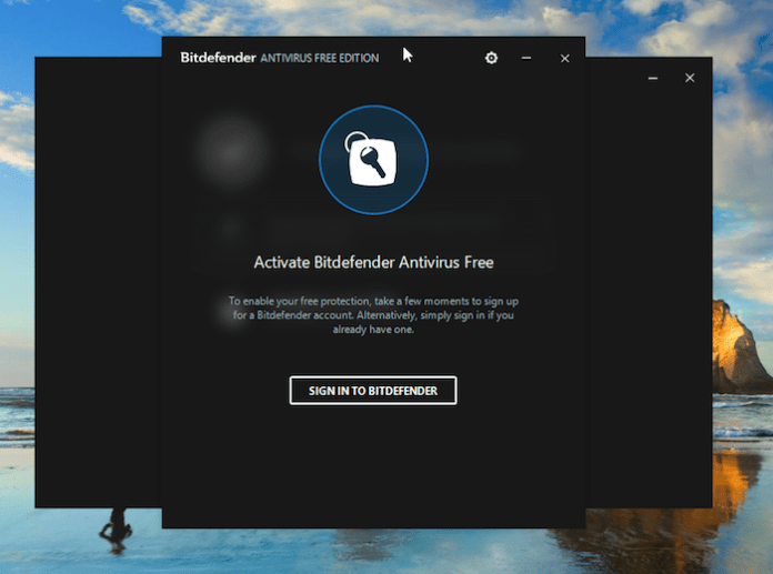 Bitdefender Free Antivirus Activation Screen