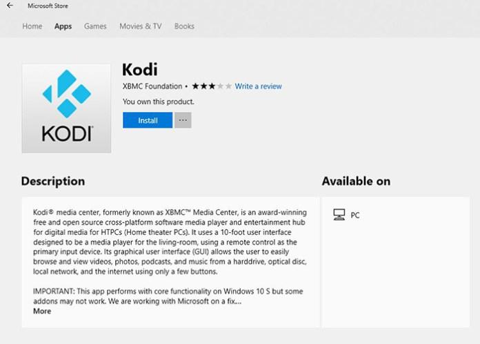Kodi Microsoft Store