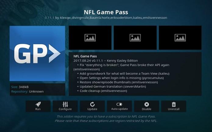 NFL Game Pass Super Bowl Kodi Addon