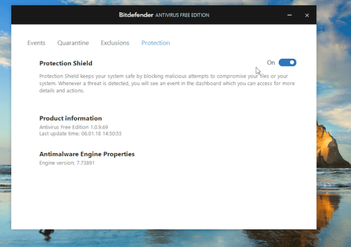 Bitdefender Protection Screen