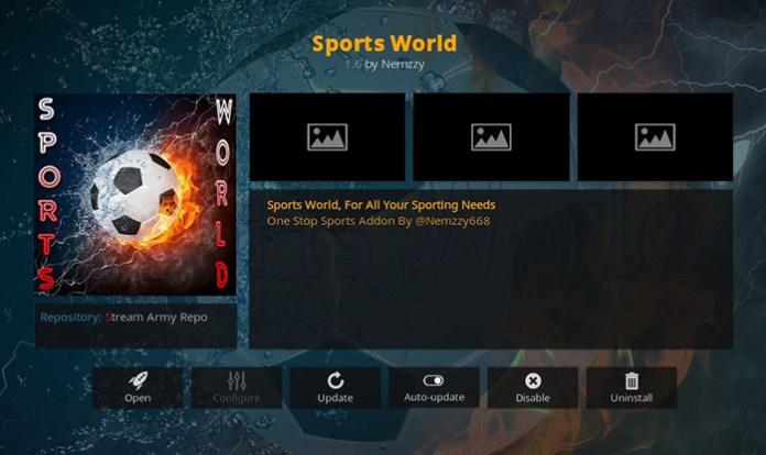 Sports World Kodi Addon