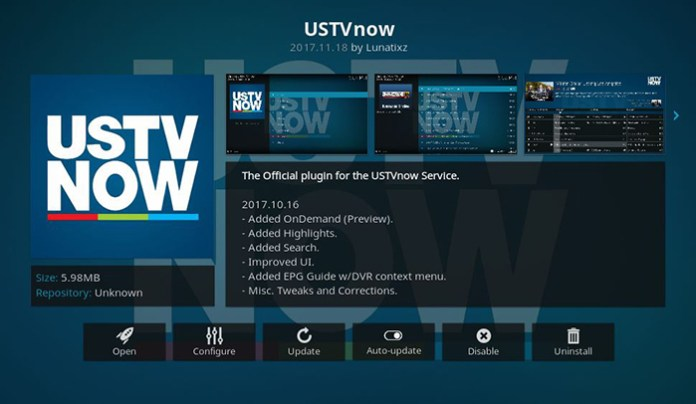 USTV Now Live TV Kodi