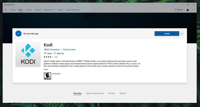 Kodi 18 Leia on Windows Store