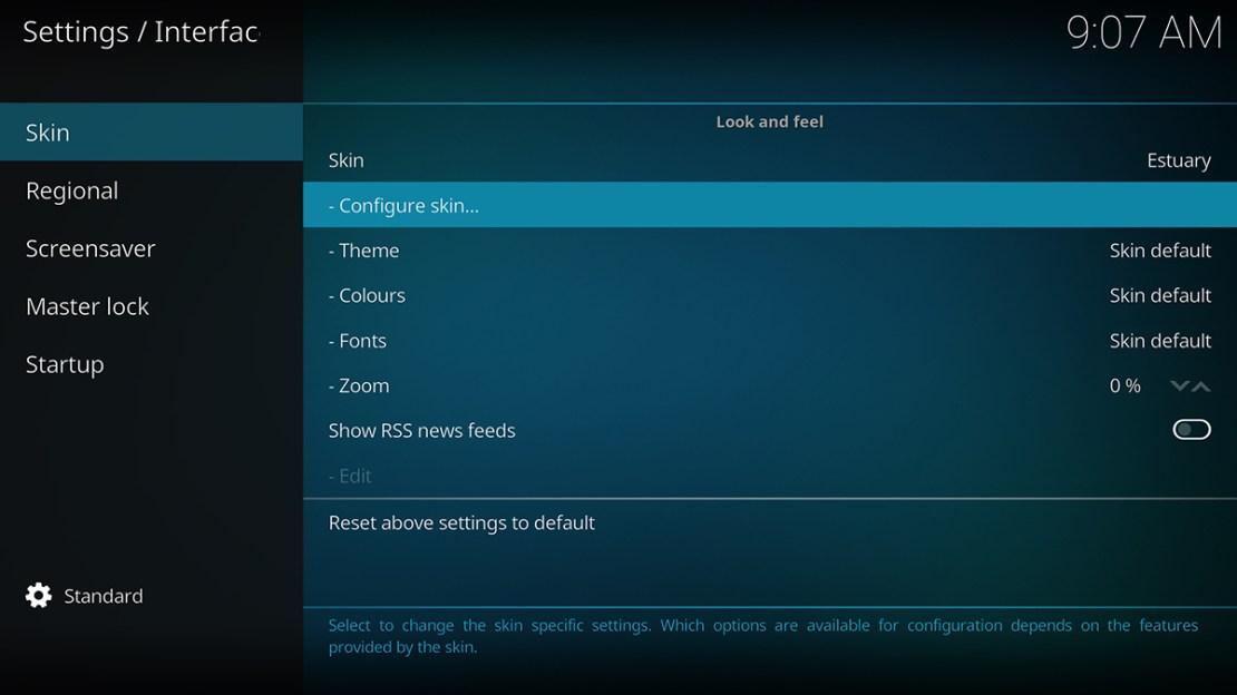 Skin Configure Settings Kodi Leia