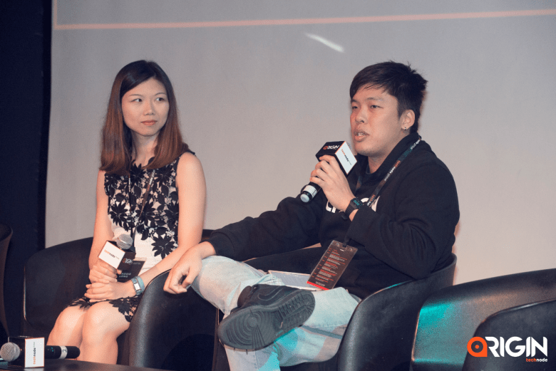 Left to right: Maggie Long, Director of Global PR and Communications at Kuaishou Technology and Daryl Chung, Project Director at e27 speak about short videos at the ORIGIN conference.