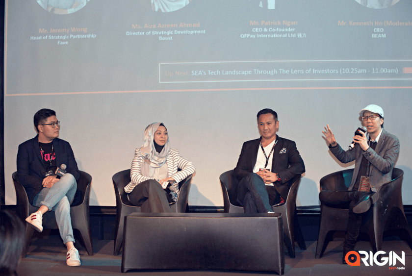 Left to right: Jeremy Wong, head of strategic partnership at Fave; Aiza Azreen Ahmad, director of strategic development at Boost, Patrick Ngan, CEO and co-founder at QFPay, and Kenneth Ho, CEO at Beam on payment solutions.