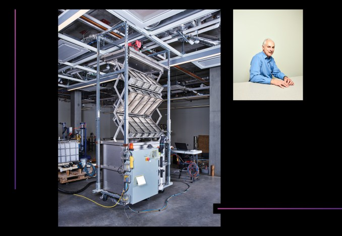 Collage of the latest prototype unfolds to grab carbon from the air. Klaus Lackner pioneered the field of direct air capture.