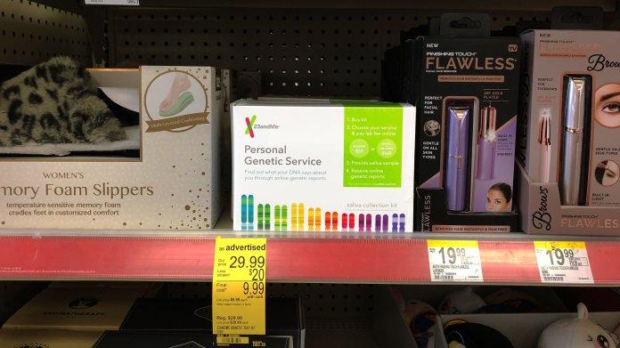 Photo of 23andMe genetic test kit on a CVS store shelf