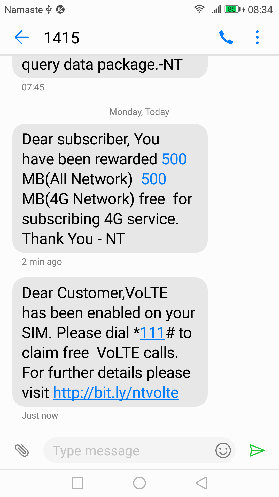 VoLTE enabled in NT SIM benefits