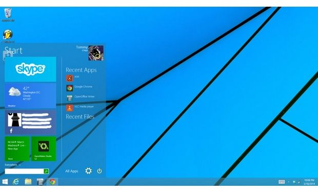 Windows 9 Start menu feature rich with both Store and traditional apps