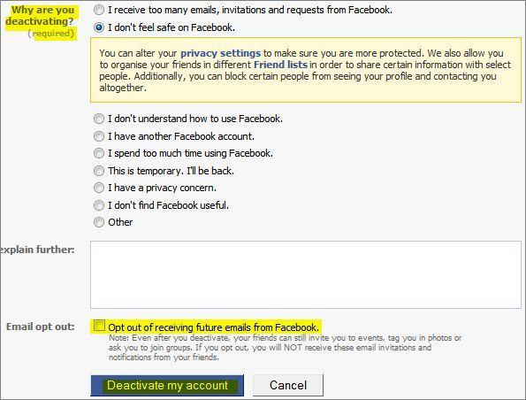 Facebook deactivation reasons
