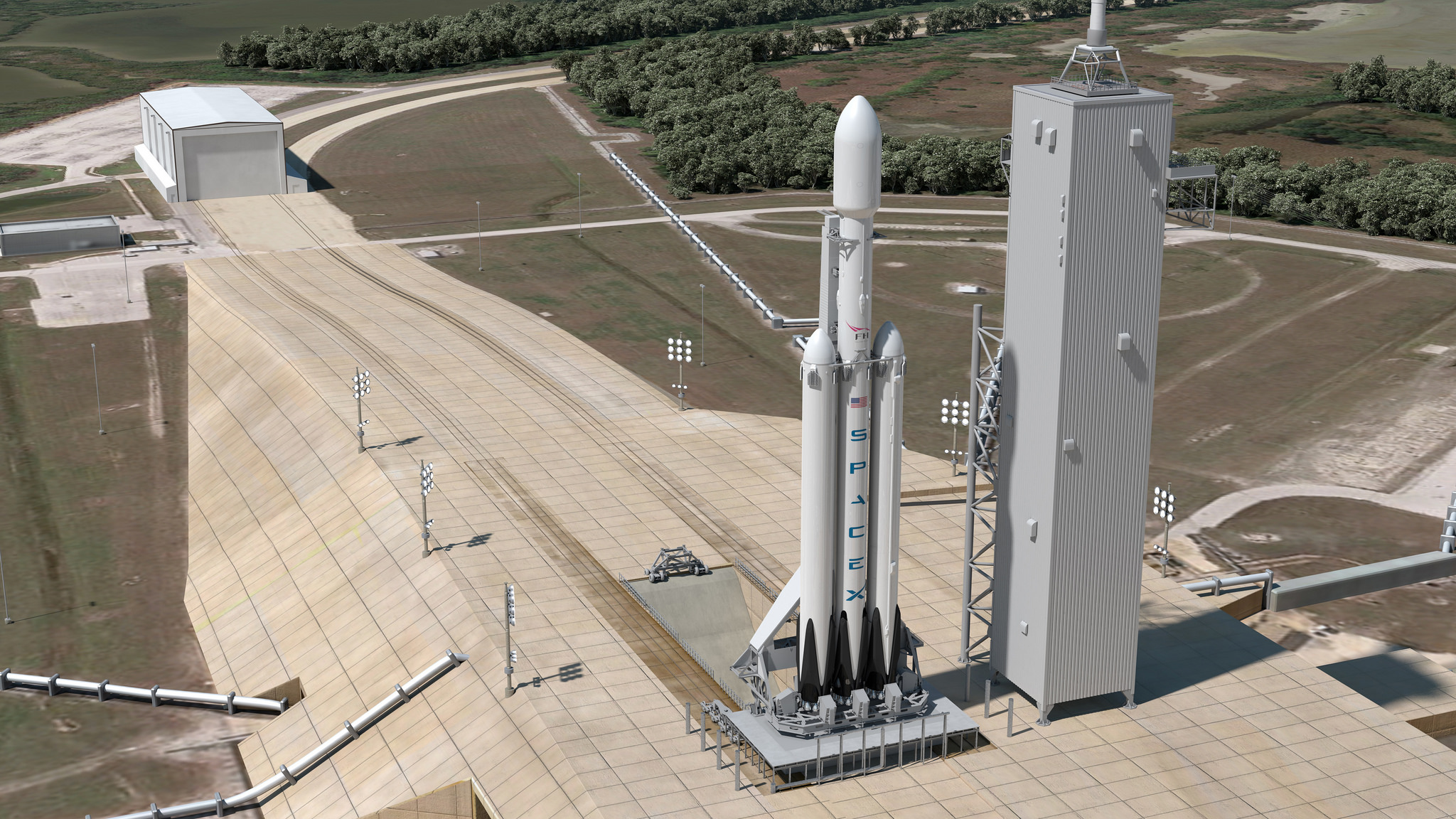 Image result for falcon heavy on the launchpad