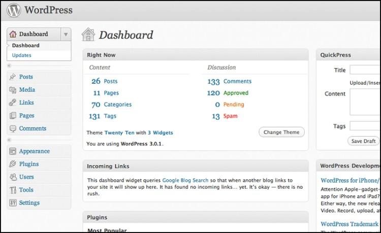 Giao diện WordPress những phiên bản đầu tiên