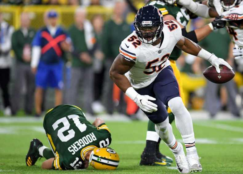 Khalil Mack had a storybook Bears debut, until Aaron Rodgers ...