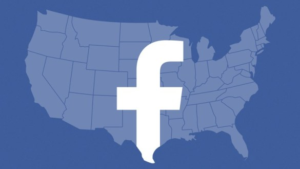 What Facebook Did to American Democracy   The Atlantic The continental United States with the Facebook logo superimposed