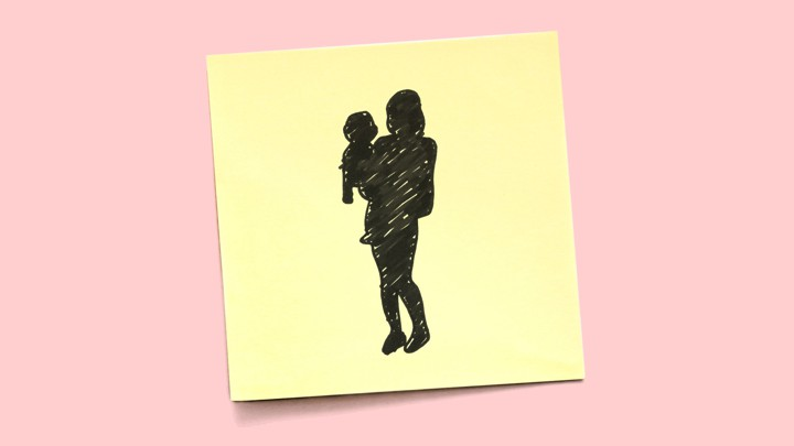 A Post-it note shows a sketch of a silhouette of a woman holding a child.